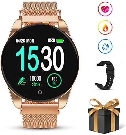 GOKOO Smart Watch for Women Men with All-Day Heart Rate Blood Pressure Sleep Monitor IP67 Waterproof Sport Activity Tracker Notifications Music Camera Control Calorie Running Counter Reminder Gold