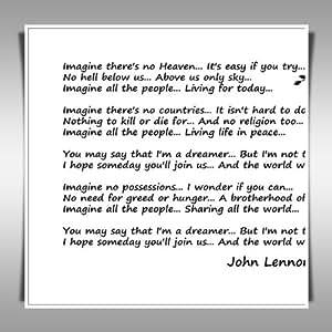 """JOHN LENNON IMAGINE LYRICS 24x24"""" ART PRINT ON CANVAS"""