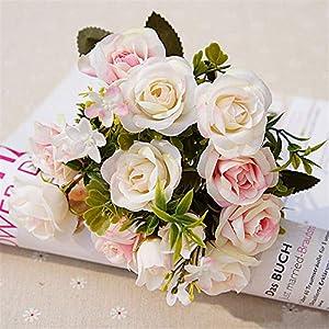 GSD2FF 15 Heads/Bunch High-Grade Artificial Flower Simulation Rose Flower DIY Home Wedding Decoration 52