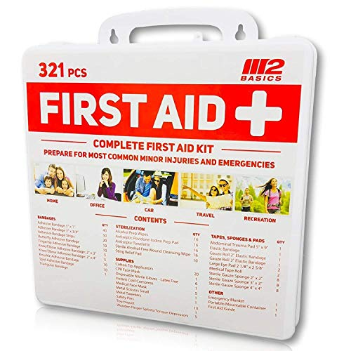 M2 Basics 321 Piece Premium First Aid Kit w/Wall Mount Hard Case | Free First Aid Guide | Emergency Medical Supply | Home, Office, Outdoors, Car, Camping, Travel, Survival, Workplace by M2 BASICS (Image #5)