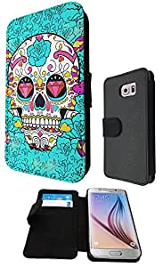 Sugar Skull Skulls Multi tattoo Diamond eye Design Samsung Galaxy S6 i9700 Fashion Trend Full Case Book Style Flip cover Defender Credit Card Holder Pouch Case Cover iPhone Wallet Purse