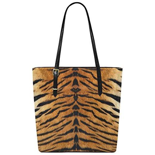 InterestPrint Tiger Print PU Leather Tote Bag Shoulder Handbag for Women Girls