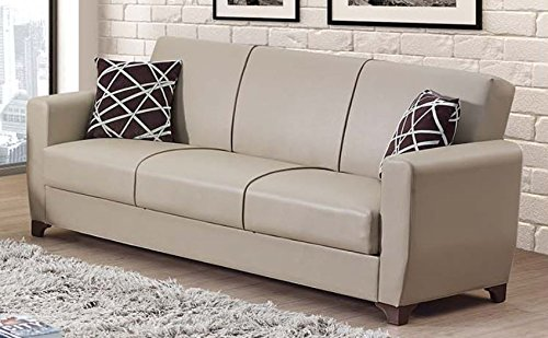 Empire Furniture USA Yonkers Collection Modern Convertible Folding Sofa Bed with Storage Space Includes 2 Pillows, Gray