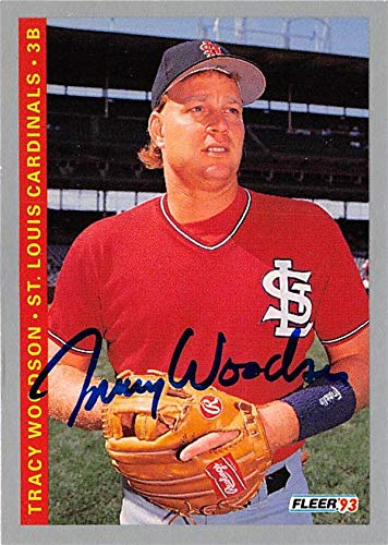 (Tracy Woodson autographed baseball card (St. Louis Cardinals 67) 1993 Fleer #517)