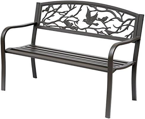 Outsunny 50″ Vintage Bird Pattern Garden Cast Iron Patio Bench