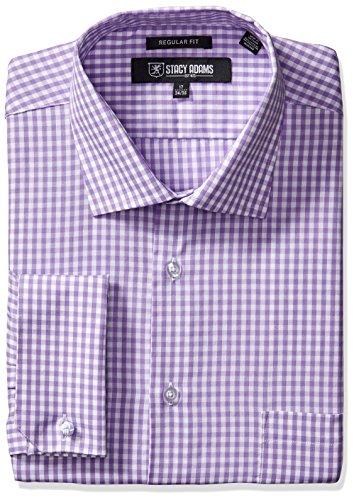 STACY ADAMS Men's Gingham Check Dress Shirt, Purple, 17.5