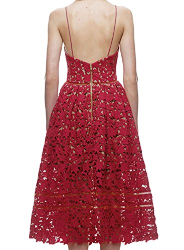 Sexy Neck Women s AlvaQ Sleeveless Red Dress Lace V BSaHwq