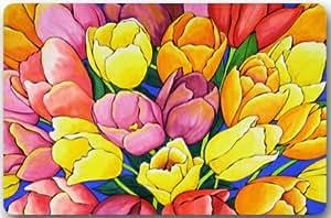 Tulipanes flores máquina limpia tela superior y antideslizante Felpudo de goma resistente para interiores/exteriores Felpudo puerta esteras
