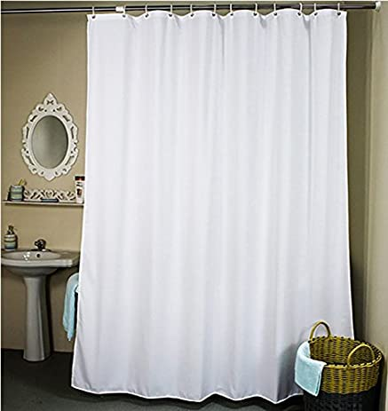 Ufelicity Stall Size Shower Curtain Solid Design Elegant White Polyester Bath Water Proof And