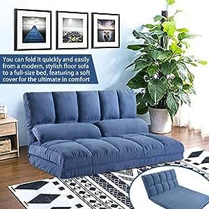 Superb Merax Floor Sofa Bed Foldable Sleeper Sofa Bed Adjustable Fabric Folding Sofa Floor With 2 Pillows Blue Uwap Interior Chair Design Uwaporg
