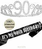 90th Birthday Tiara and Sash, HAPPY 90th Birthday Party Supplies, 90 & Fabulous Black Glitter Satin Sash and Crystal Tiara Birthday Crown for 90th Birthday Party Supplies and Decorations (Tiara+Sash)