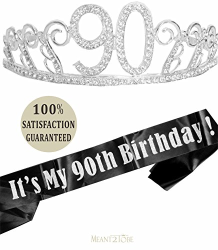 90th Birthday Tiara and Sash, Happy 90th Birthday Party Supplies,Its My 90th Birthday Black Glitter Satin Sash and Crystal Tiara Birthday Crown for 90th Birthday Party Supplies and Decorations