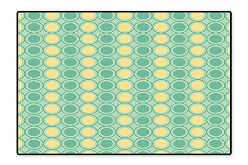 Kid Non Slip Rug Pad Big Circles and Dots Pattern in Green Yellow Colors Geometrical Mint Green Seafoam Light Yellow Dual Surface 5'8