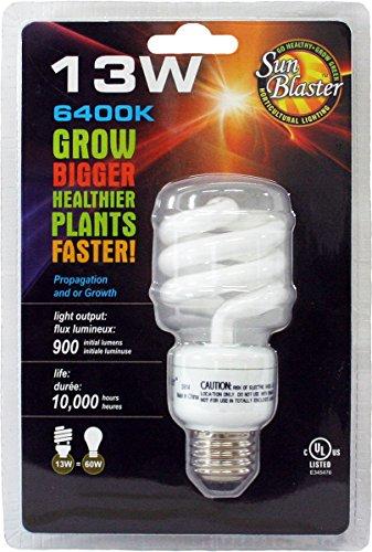 SunBlaster CFL Self ballasted Propagation lamp, 6400K Light Spectrum, 13 Watt, Fits Standard Size Light Socket For Sale