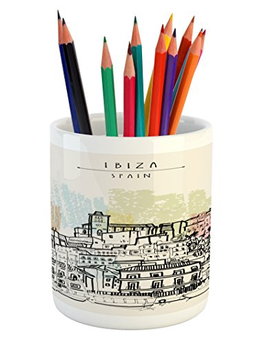 Lunarable Ibiza Pencil Pen Holder, Sketch Style Balearic Islands Spain Hand Drawn Historical Buildings and Boats Travel, Printed Ceramic Pencil Pen Holder for Desk Office Accessory, Multicolor by Lunarable