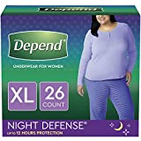 Depend Night Defense Incontinence Underwear for Women, Disposable, Overnight, XL, Blush, 26 Count