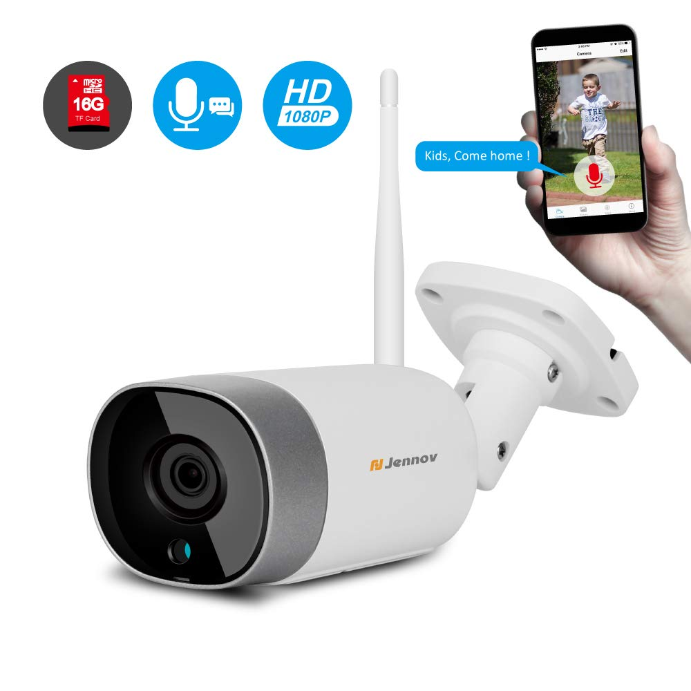 [2019 Newest Two Way Audio] Jennov Wireless WiFi Security IP Camera Outdoor Bullet Home HD 1080P Surveillance IR Night Vision Two Way Audio, Onvif Motion Detection and Pre-Installed 16G Micro SD Card