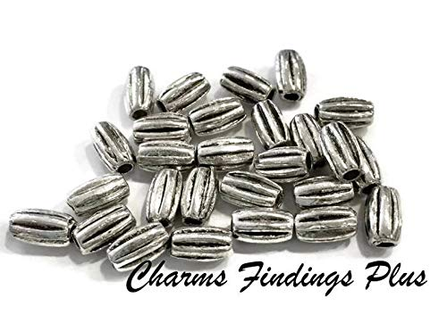 100, Rice Bead, Corrugated, Oval, Oblong, Beads, Antique Silver, 6.5x4mm Hole: Approx. 1.5mm
