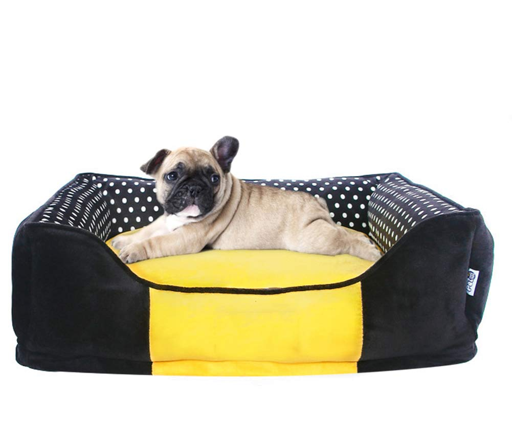 45×45×17cm QZX Plush Pet Bed Removable Washable Dog Bed with Removable Cushion velvet + threedimensional PP cotton Square Dog bed Pet Basket Bed Suitable for small and medium sized dogs