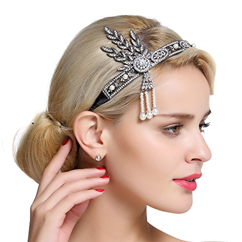 Gatsby Costumes Couple (FAIRY COUPLE Bling Black-Tone Flapper Headband Leaf Simulated Pearl Wedding Tiara Headpiece Black)