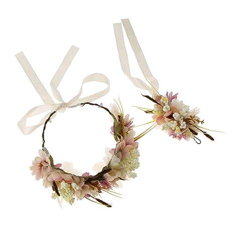 Corona de Guirnalda de Flores para Novia + Flor de Mano para ...