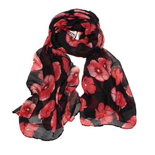 Franterd New Ladies Red Poppy Print Long Scarf Flower Beach Scrafs Shawl ()