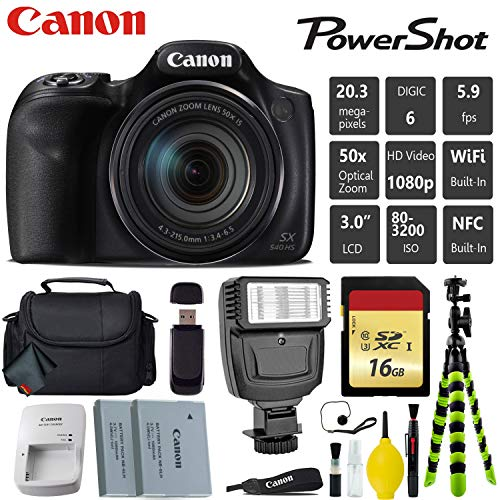 Canon PowerShot SX540 HS Digital Point and Shoot 20MP Camera + Extra Battery + Digital Flash + Camera Case + 16GB Class 10 Memory Card - International Version