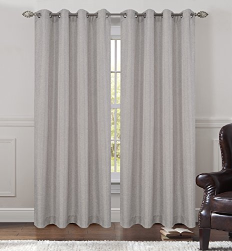 (Urbanest 54-inch by 96-inch Tweed Set of 2 Sheer Drapery Curtain Panels with Grommets, Pewter)