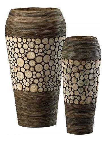 Birchwood and Walnut 20.25in. Wood Slice Oblong Vases