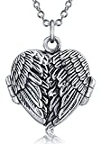 Angel Wing Feathered Heart Locket Pendant Sterling Silver Necklace 18 Inches