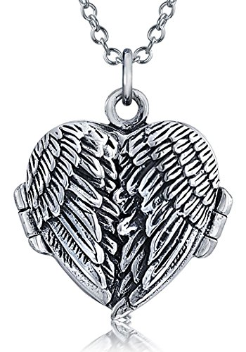 (Guardian Angel Wing Feathered Heart Locket Pendant Necklace For Women Antiqued 925 Sterling Silver Chain 18)