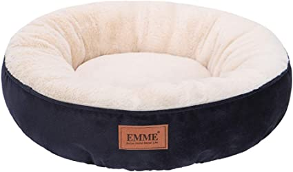Amazon Com Emme Cat Bed Small 20in Donut Cat Bed Round Shape Dog Beds With Non Slip Bottom Cozy Warming And Machine Washable Cuddler Cushion Bed For Puppy Kitten And Newborn Pets Navy