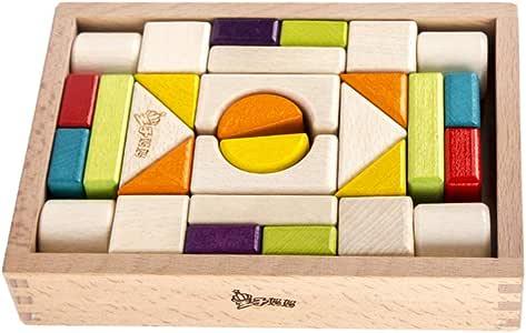 TOYANDONA 1 Set Wood Rainbow Stacking Game Stacker Geometry Building Blocks Nesting Educational Toys Kids Toddlers Infant STEM Toys