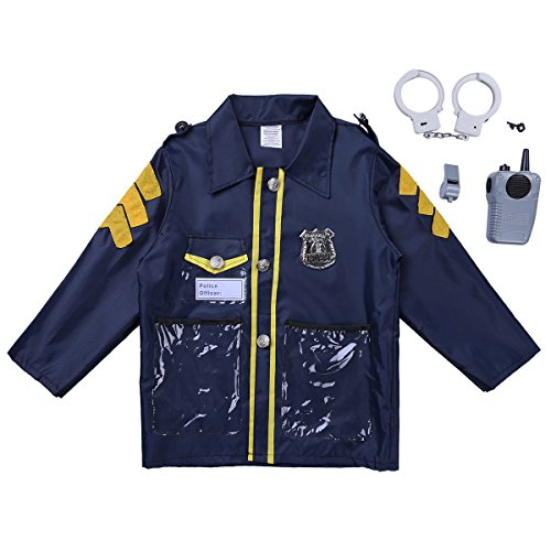 inhzoy Kids Boys Role Play Costume Halloween Cosplay Dress Up Policeman/Fireman/Doctor Outfit Set with Accessories Police Officer One Size]()