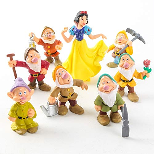 PAPWOO Terrarium Figurines 8 Pcs/Set Snow White & The Seven Dwarfs Action Figure Miniatures Fairy Garden Statue Bonsai Decoration DIY Pedestrian Home Decoration Outdoor Ornaments Birthday Gifts