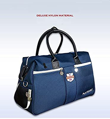 PLAYEAGLE New Waterproof Nylon Golf Clothing Bag with Shoes Package Large Capcity Golf Boston Bag Sport Travel Bag(Blue)