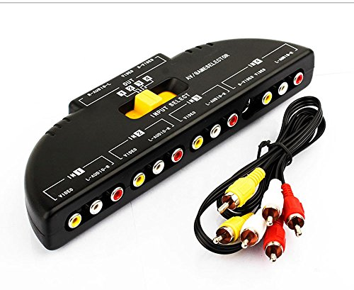 Splitter Rca Audio Av (RCA Splitter with 4-Way Audio, Video RCA Switch Box + RCA Cable,4 Way Port Splitter RCA Audio Video AV Switch Box Game Selector (4 in 1 Out- B))