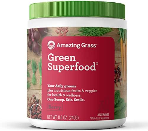 Amazing Grass Green Superfood: Organic Wheat Grass and 7 Super Greens Powder, 2 servings of Fruits & Veggies per scoop, Berry Flavor, 30 Servings