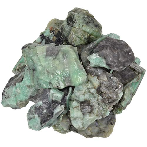 Digging Dolls: 1 lb of High Grade Emerald Rough Stones from Brazil - Raw Rocks Perfect for Tumbling, Lapidary Polishing, Reiki, Crystal Healing and Crafts!