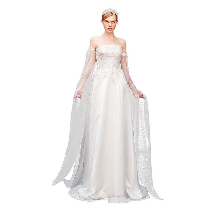 Dressilyme - Vestido de novia - Manga Larga - Mujer Blanco Marfil 52