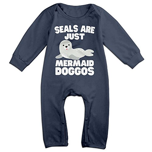Under The Sea Costumes Plus Size (Baby Infant Romper Seals Are Just Mermaid Doggos Long Sleeve Bodysuit Outfits Clothes Navy 12 Months)