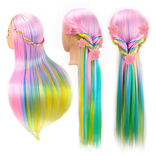 CoastaCloud 24 Cosmetology Manikin Mannequin Head 100% Synthetic Hair Rainbow Color Practice Training Hair Styling Mannequin Head (Pink Blue) - Barbe