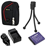 BIRUGERA 4pcs kits: KLIC-7004/NP-50A Replacement Li-ion Battery + AC Charger with Car Adapter + EveCase Black with Red Strip Case + Black Mini Tripod Stand for Kodak PlaySport (Zx3) HD Waterproof Pocket Video Camera ,EasyShare M1033 M1093 V1273; Fuji FUJI