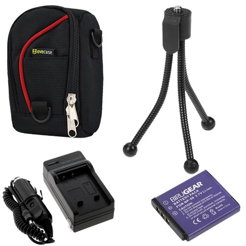BIRUGERA 4pcs kits: KLIC-7004/NP-50A Replacement Li-ion Battery + AC Charger with Car Adapter + EveCase Black with Red Strip Case + Black Mini Tripod Stand for Kodak PlaySport (Zx3) HD Waterproof Pocket Video Camera ,EasyShare M1033 M1093 V1273; Fuji FUJI by GTMax