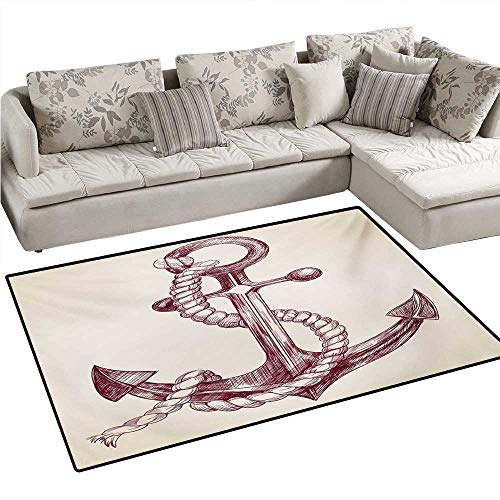 (Anchor Bath Mats Carpet Realistic Hand Drawn Sketch Marine Vintage Design Sails Yacht Boat Cruise Door Mats for Inside Non Slip Backing 4'x6' Dark Mauve Cream)