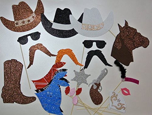 22 Pc Photo Booth Party Props Mustache on a Stick Western Theme Party Cowboy Hat -