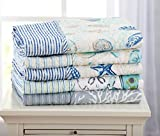 quilted throw polyester - Decorative Reversible Quilted Throw. Coastal Beach Theme. Elegant Throw Blanket for Bed, Couch, or Sofa. Seaside Collection By Great Bay Home Brand.