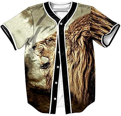 GJCDGPZTX Camisa De Béisbol para Hombre Jersey,Camiseta De Verano con Estampado De León,Hip Hop,Botones De Mujer,Camisas De Hombre,Tops para Hombre: Amazon.es: Deportes y aire libre