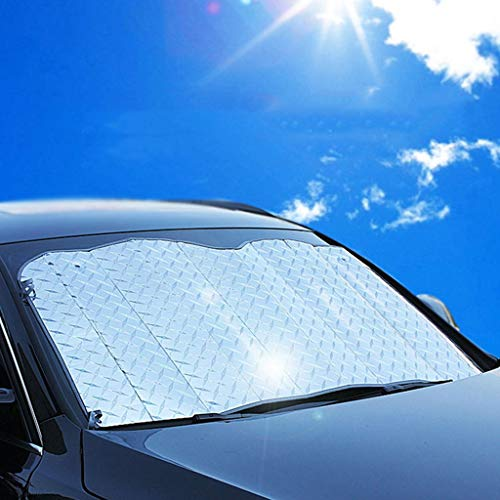 Fine Car Sun Shade Windshield Cover, Windshield Sun Shade Protector for UV/Sun Protection with Rear Mirror Covers, Snow, Ice, Frost, UV Full Protection (A)