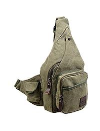 Smartstar Men Canvas Leisure Single Shoulder Cross Body Bag Pack - Army Green
